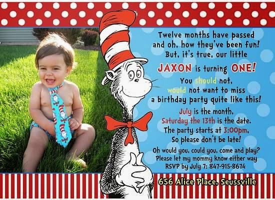 Jax Us Cat in the Hat 1st Birthday