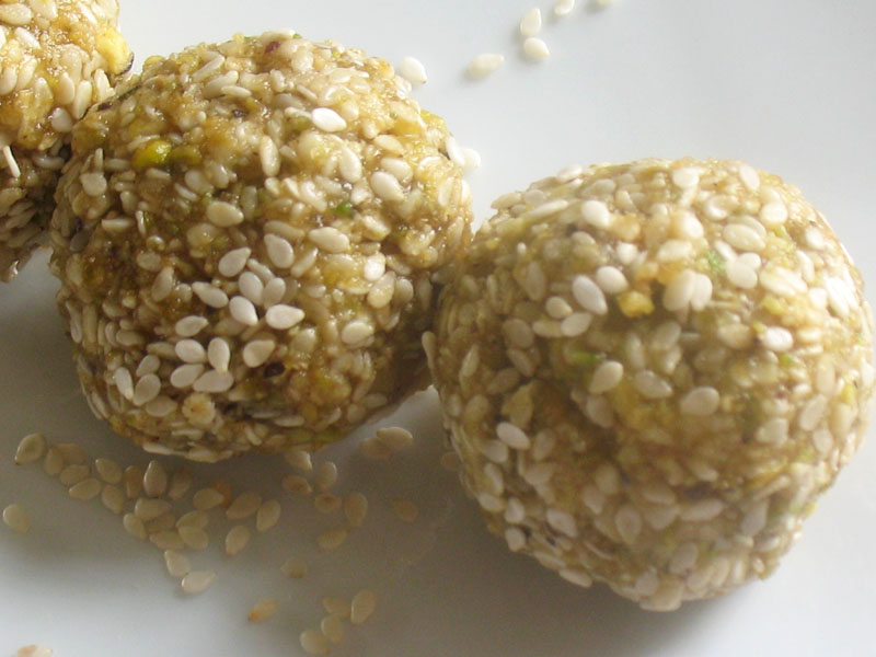 Raw Honey Date Sesame Balls Recipe — Dishmaps