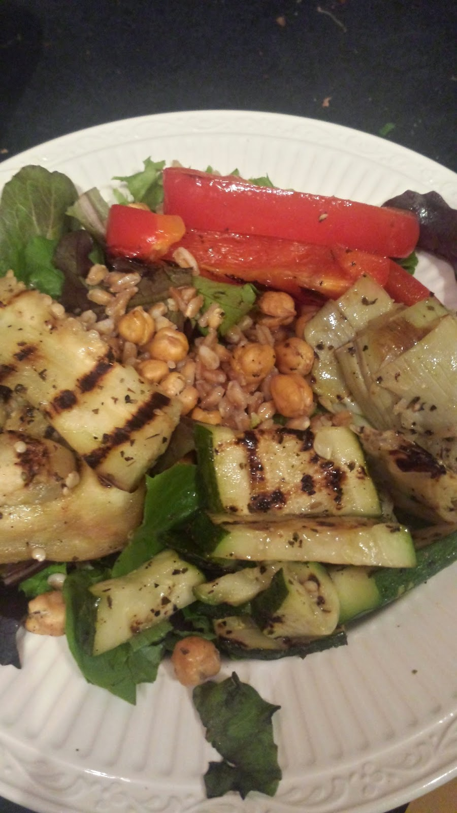 Vegetables marinated in homemade greek dressing make a fantastic base for a filling dish - Crossing The Delebear