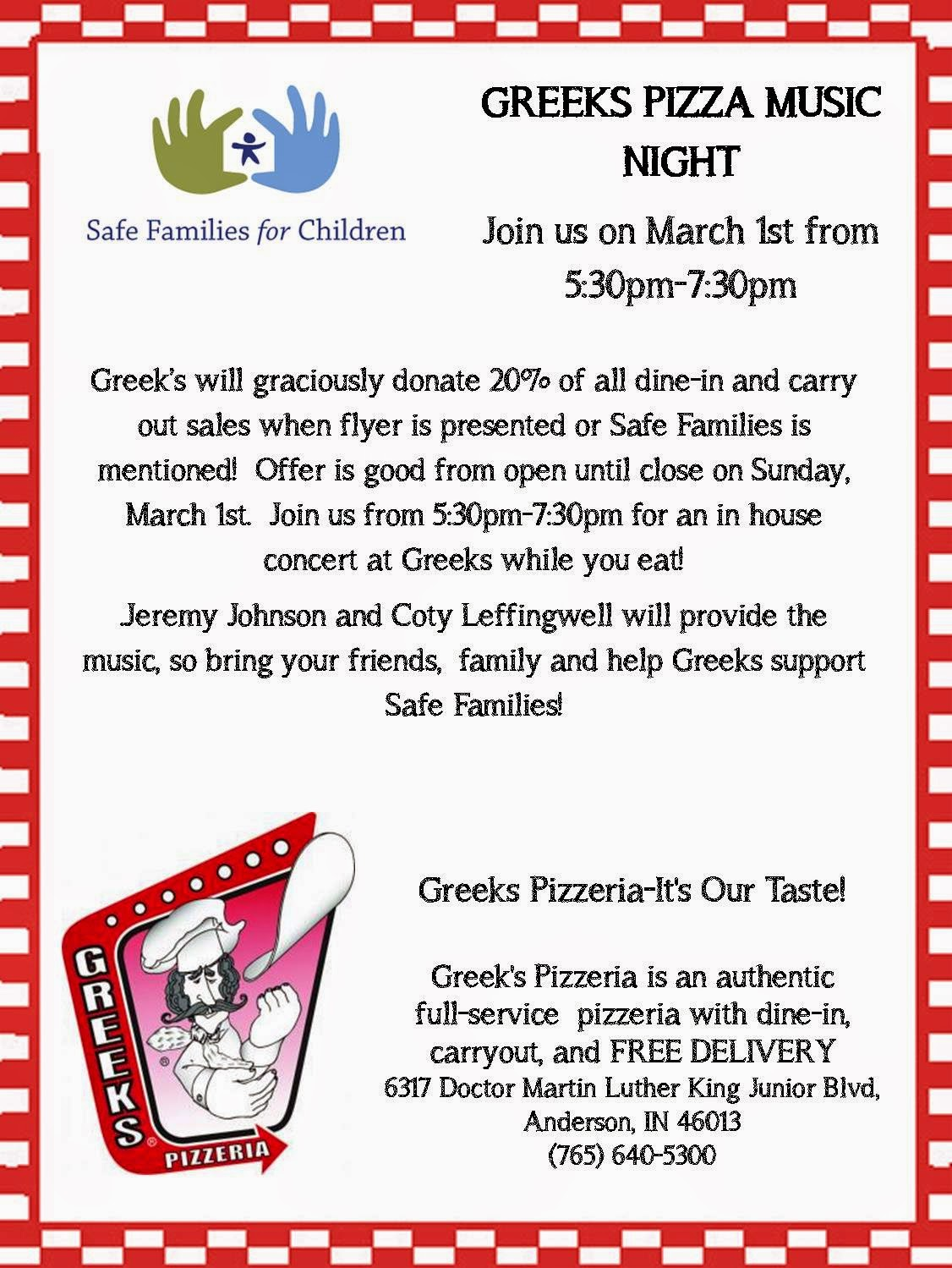 Indiana madison county markleville - Greeks Will Give A 20 Kickback To Safe Families Of Madison County For Any Pizza Purchased On 3 1