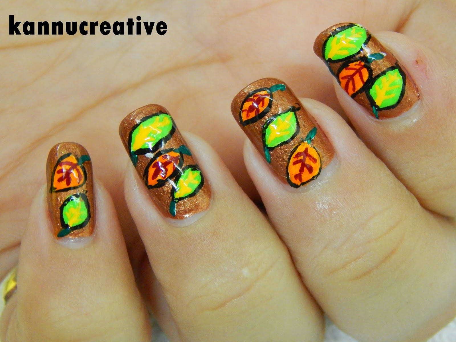 Wednesday Nail Art: Fall Leaves Nail Art – Her Creative Palace
