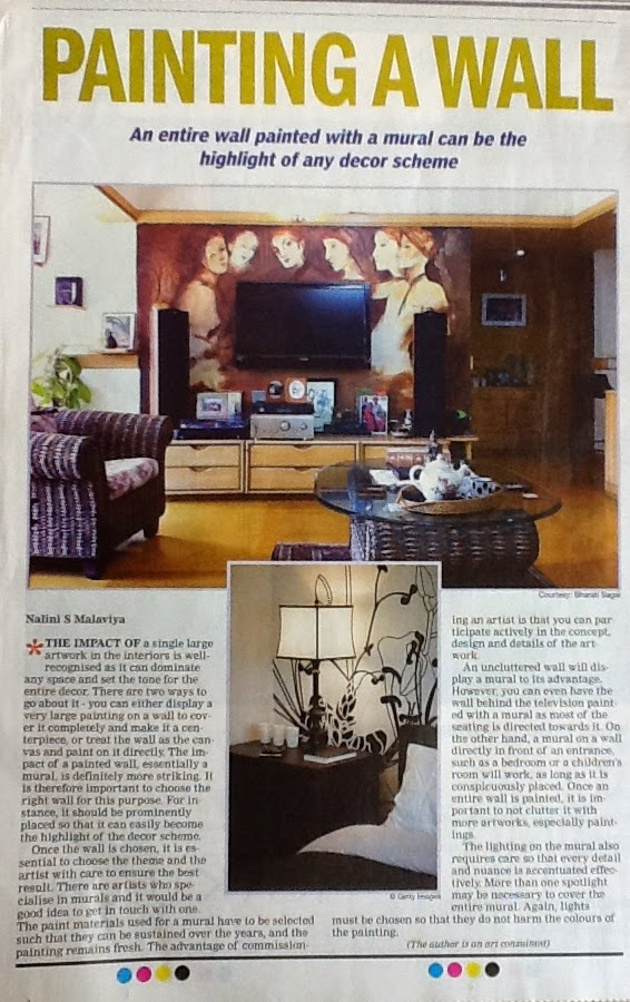 Art in Interiors, Mural by artist Bharati Sagar, Art Scene India, Times of India-The Address