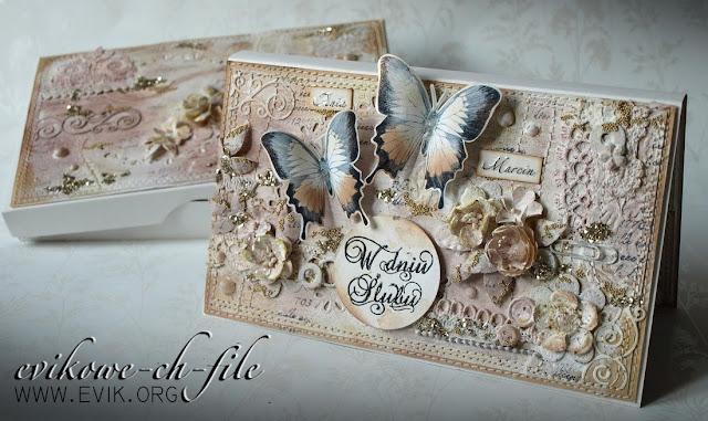 Memory Box Valencia Border (98290), W Dniu Ślubu, mix media, kartka z pudełkiem, butterfly, kartka z motylem