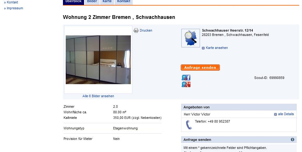 wohnungsbetrugsinformationen informations about rental. Black Bedroom Furniture Sets. Home Design Ideas
