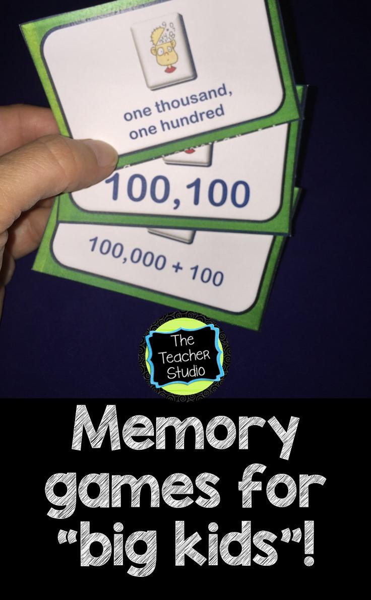 math memory games for upper elementary students the teacher studio