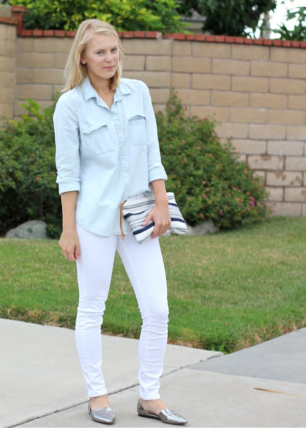 Shae Roderick, Current Habits, chambray, white jeans, casual, look