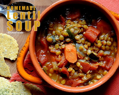 Homemade Lentil Soup, a classic homemade lentil soup, just inexpensive wholesome lentils, spices and vegetables. The special touch? A splash of sherry that somehow rounds out all the flavors. Recipe and tips at Kitchen Parade.