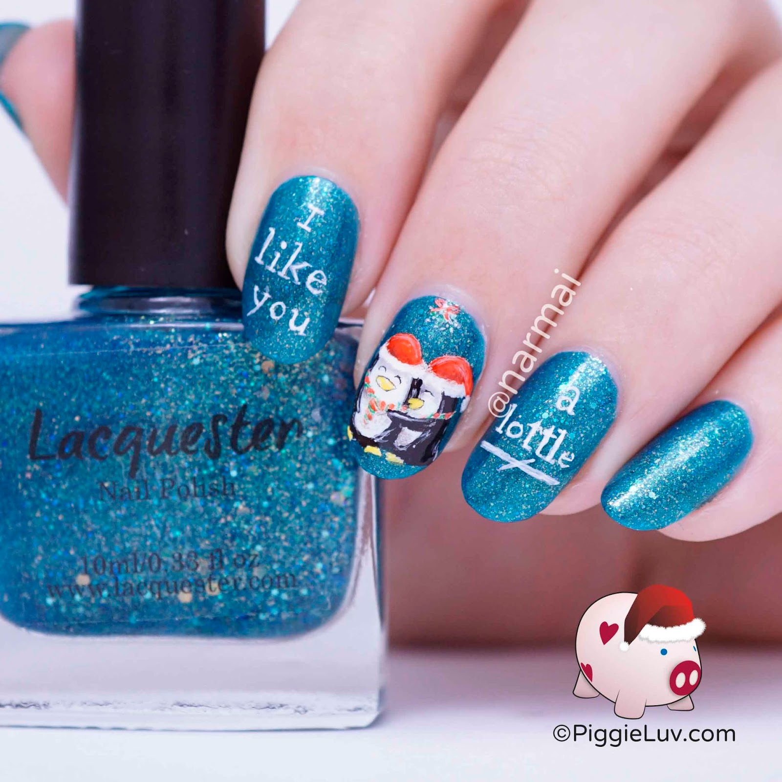 Piggieluv penguins under mistletoe nail art for christmas i used lacquester taling for the base it looked like an arctic color to me i got this one in my december nail the mail box which is an awesome one this prinsesfo Choice Image