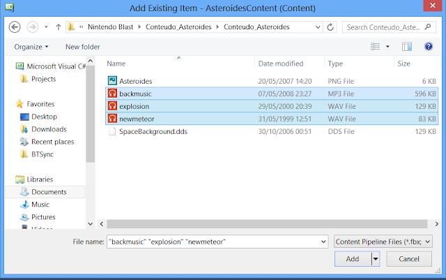 Escolha os arquivos de audio e adicione-os - GameDev Xbox Blast