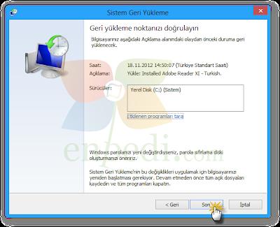 enpedi 15 10 50 Windows 8 Sistem Geri Yükleme Nasıl Yapılır