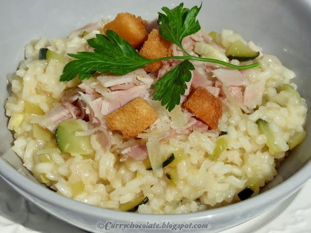 Ham and zucchini rissoto