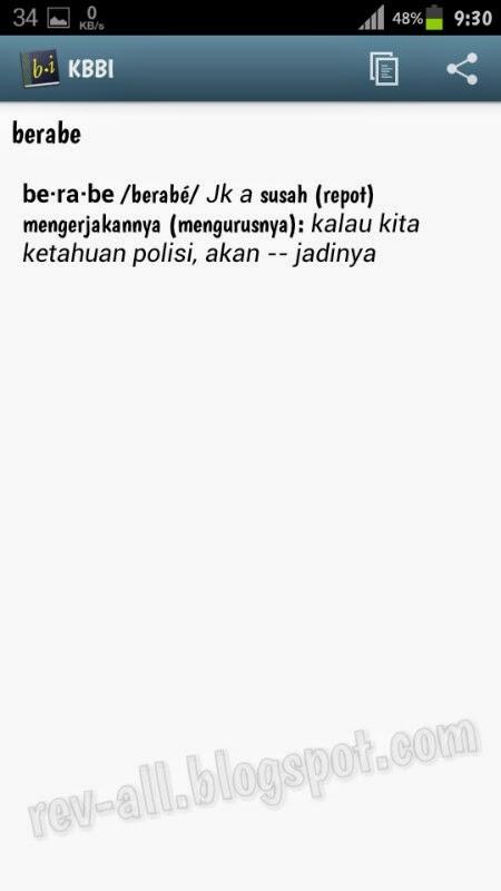 Contoh Definisi kata KBBI - Kamus besar bahasa indonesia untuk perangkat Android (rev-all.blogspot.com)