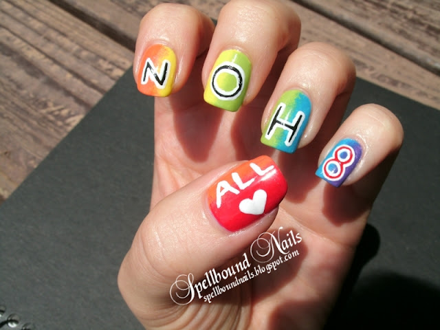 gay pride LGBT nail art contest entry NOH8 NO H8 campaign rainbow all love heart Kyoti's Nails