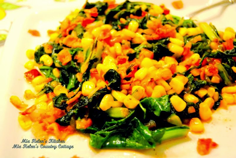 Mustard Green with Corn Skillet at Miz Helen's Country Cottage