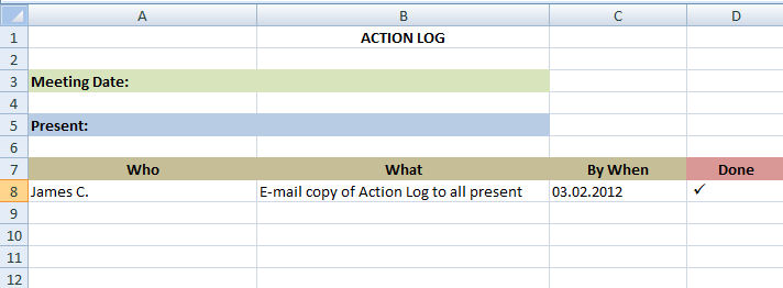 Action Log sample