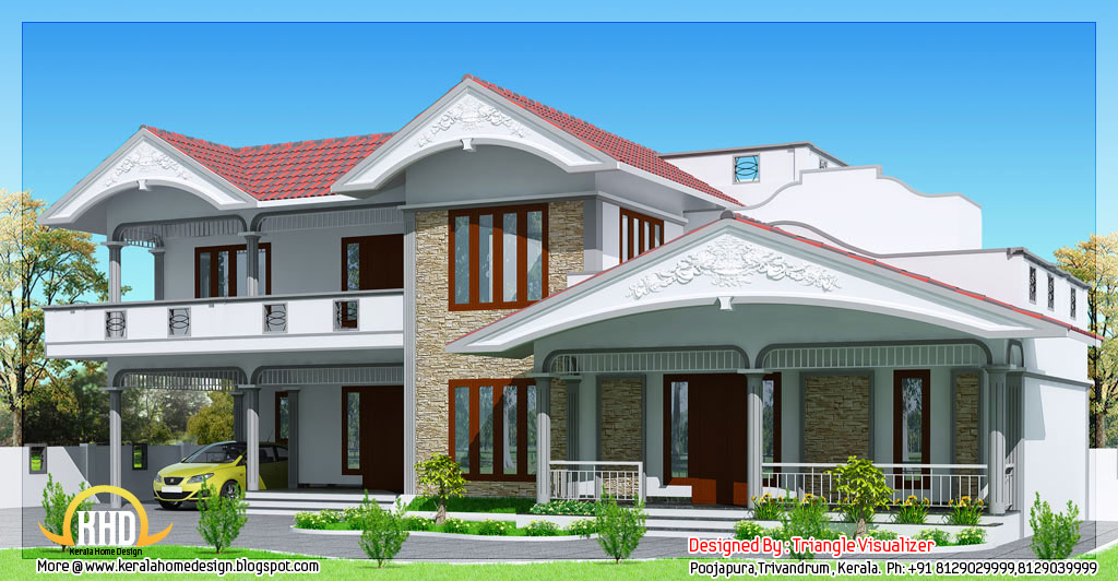2990 sloped roof house in kerala style indian for Sloped roof house plans in india