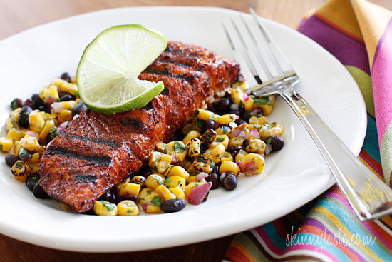Grilled salmon steaks rubbed with a spicy blend of smoked paprika ...