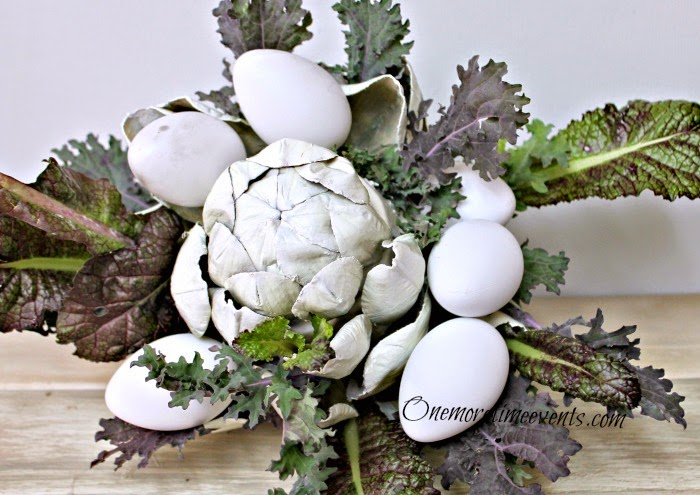 Fresh and faux spring centerpiece at One More Time Events.com