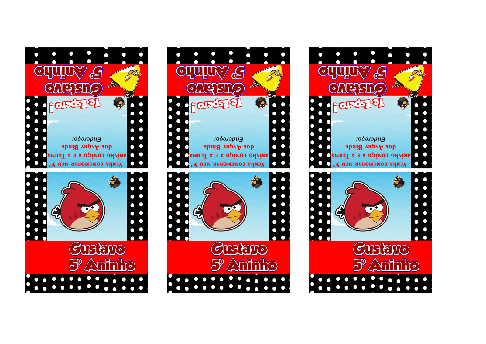 Rótulo para Pirulito Convite de aniversário Angry Birds