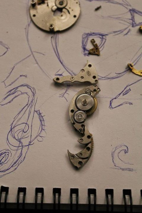 steampunk, clockwork, owl, seahorse