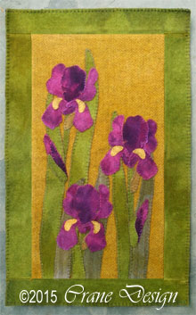 "Iris Wool Applique Wallhanging 11"" by 18"""