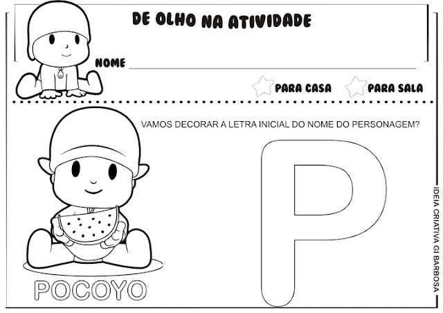 Atividades Letra Inicial Personagens Pocoyo