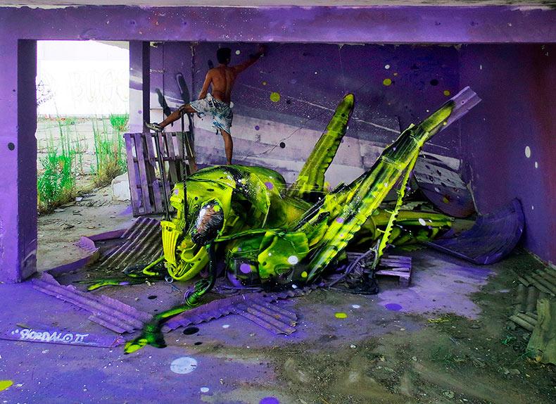 Artista 'Bordalo II' trae a la vida basura y objetos encontrados en las calles de Lisboa
