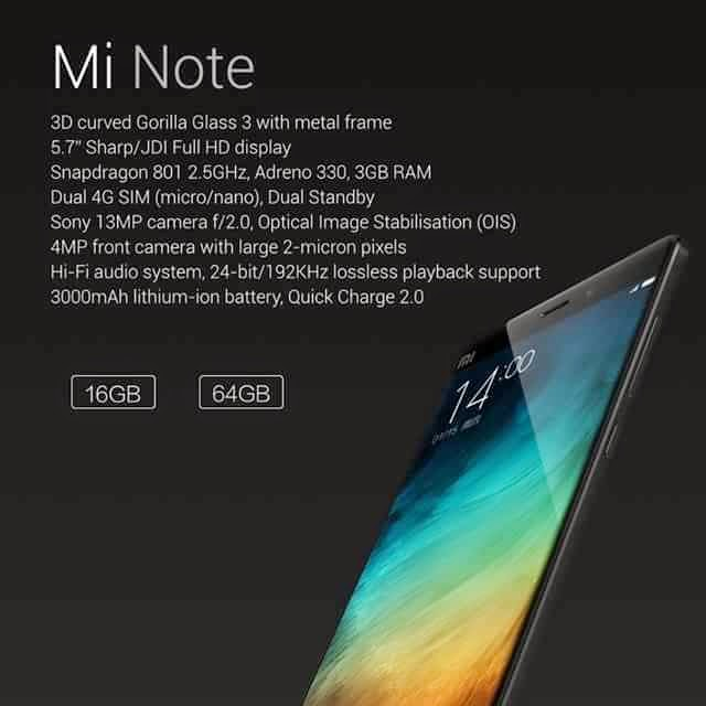 "Xiaomi Mi Note, Mi Note Pro Unveiled, ""iPhone 6"" Killer Starting at P16,599"