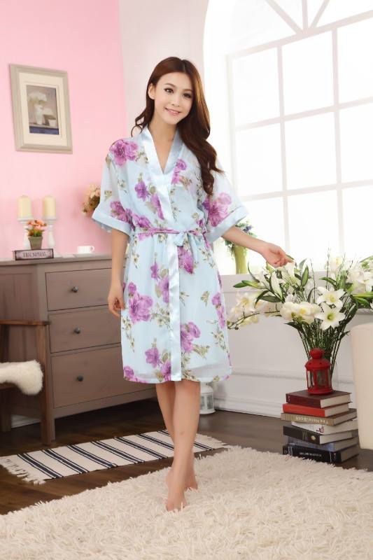 gambar Baju Tidur Kimono  SL1142 Flower Purple