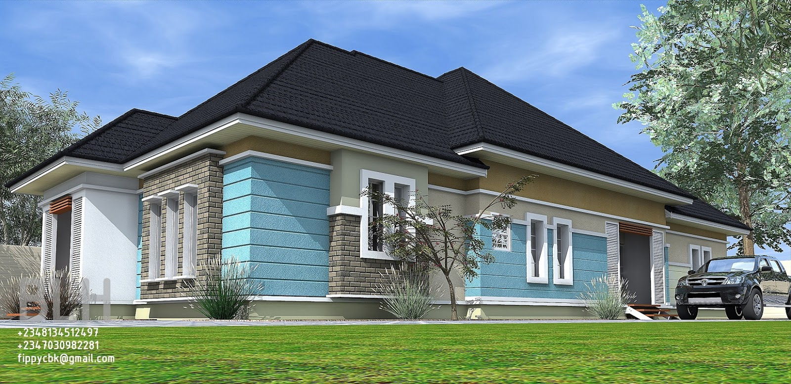 Architectural designs by blacklakehouse 4 bedroom bungalow for 3 bedroom bungalow house designs