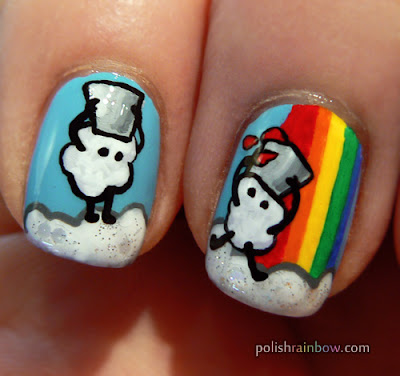 Little cloud dudes with buckets who like rainbows nail art.