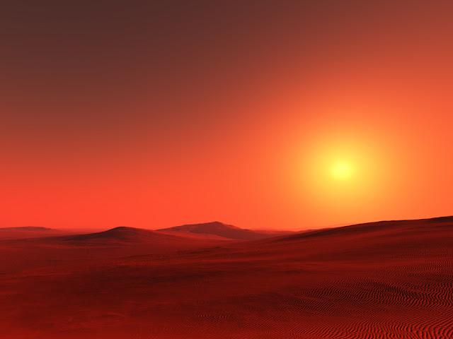 Марсианский пейзаж песочных равнин и