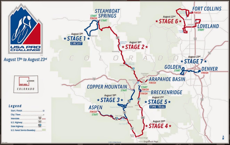 Map of 2015 USA Pro Challenge Colorado