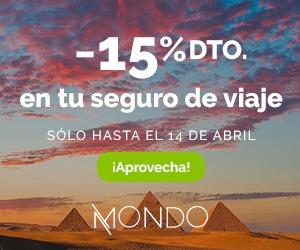 Oferta!! Seguro de viaje  -15% de descuento del 5 al 14 de abril (sea cuando sea el viaje)