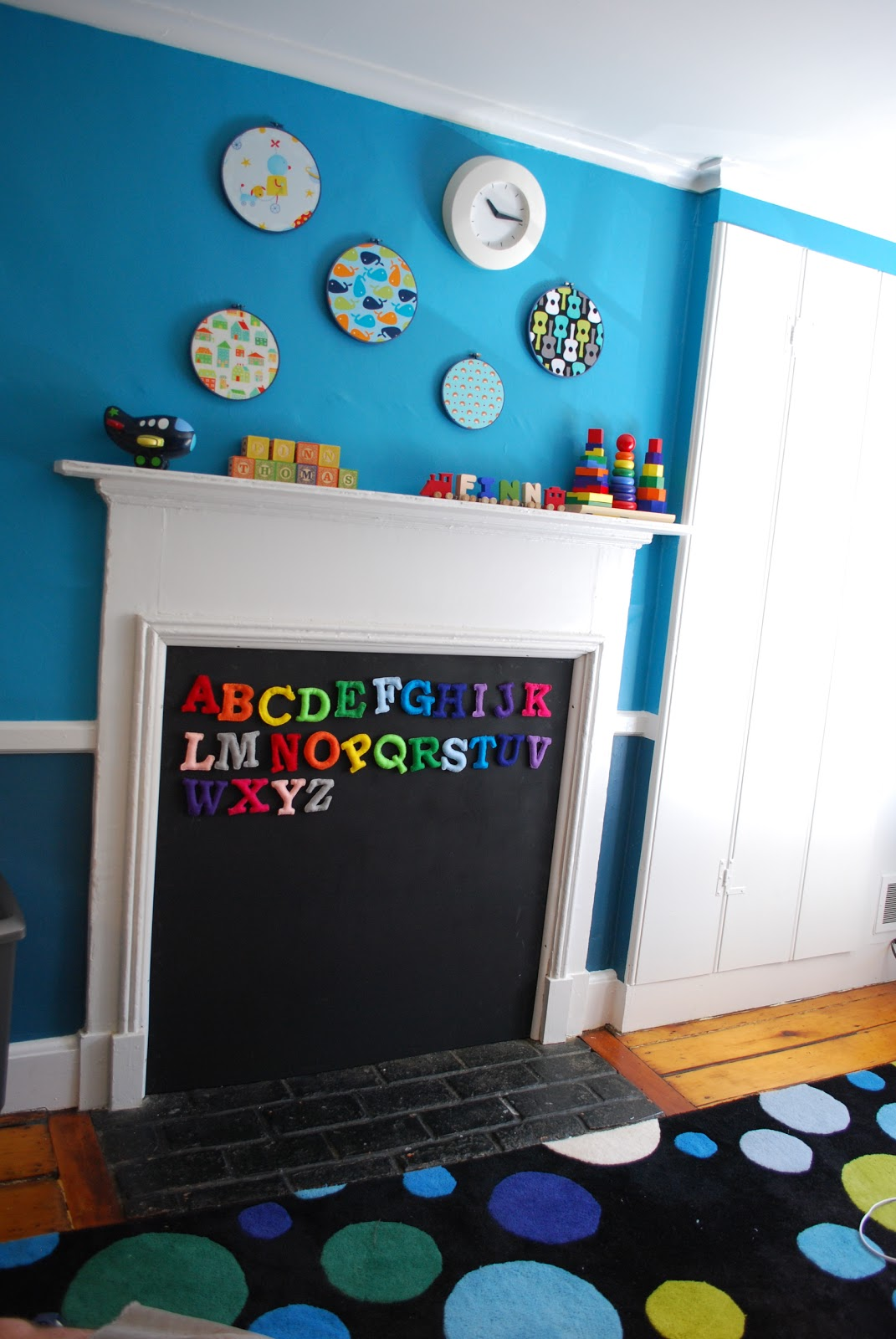 Oh apostrophe nursery fireplace turned magnetic chalkboard - Ideas to cover fireplace opening ...