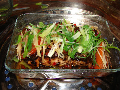 Sunflower Food Galore: Steamed fish with black bean sauce and tomato