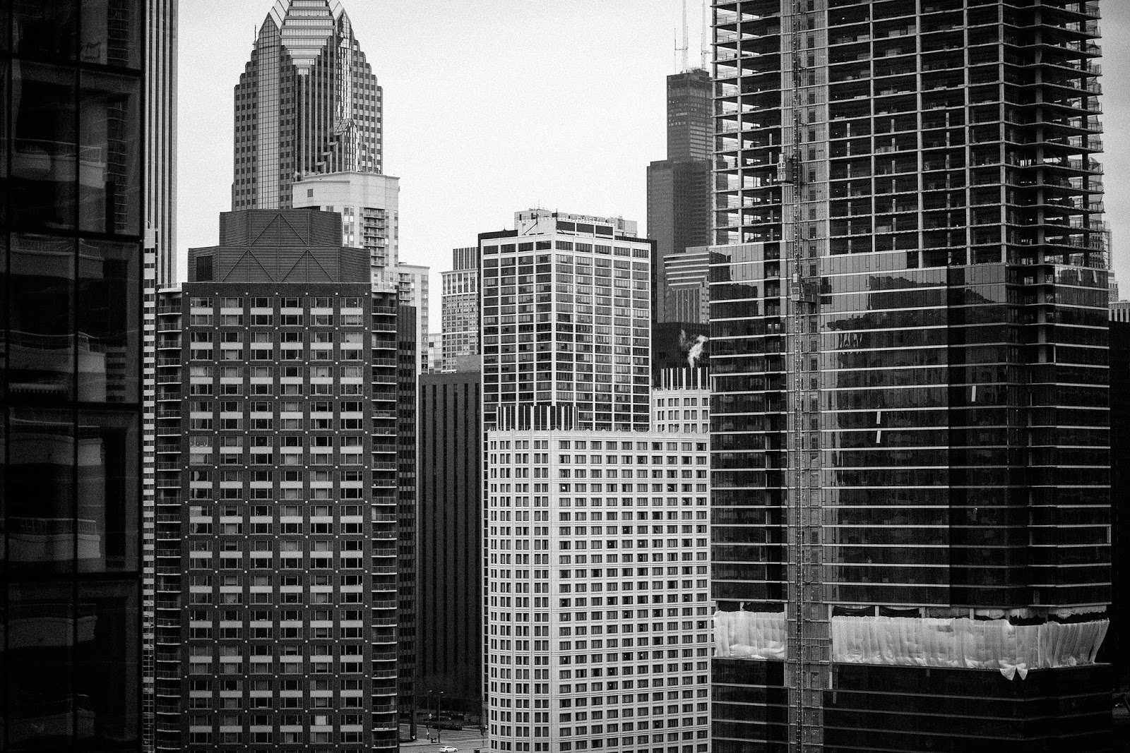 Black and White Chicago Cityscape