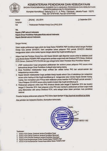 Surat Edaran resmi dari Kepala BPSDMPK PMP Kemdikbud perihal Pelaksanaan Penilaian Kinerja Guru (PKG) 2014 sebagai bagian dari program Pemetaan Mutu Pendidikan Nasional melalui Layanan Padamu Negeri.