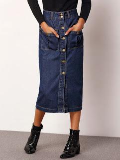 SheIn denim long skirt