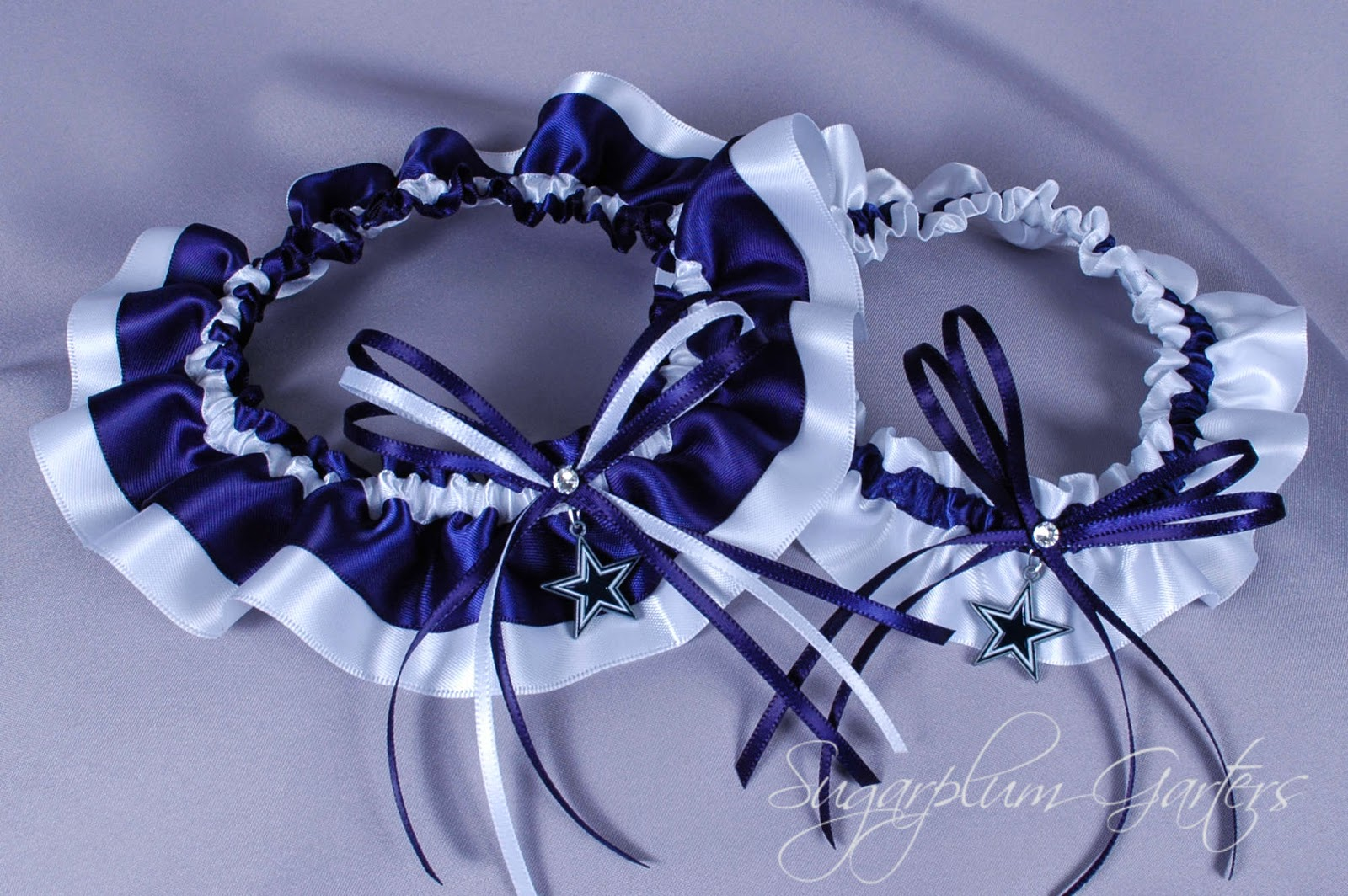 Custom Dallas Cowboys Wedding Garter Set by Sugarplum Garters