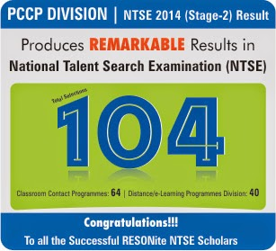 Outstanding Achievement in NTSE' 2014 Stage-2