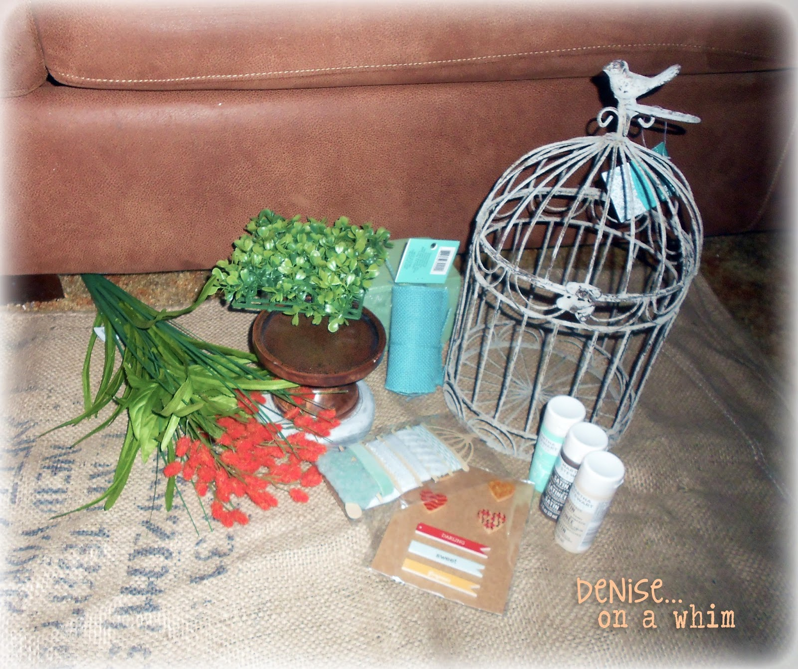 The Supplies for a Shabby Birdcage via http://deniseonawhim.blogspot.com