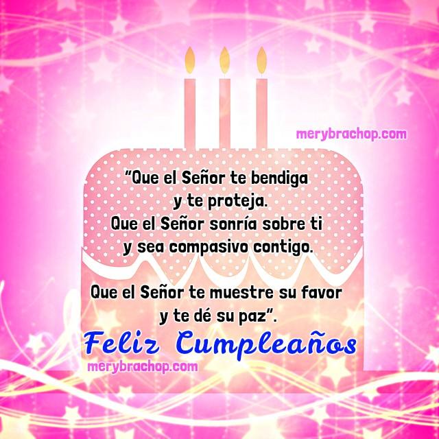 tarjeta con saludo de cumpleaños, bendiciones, frases para hermana, palabras con imagen de cumple para querida hermanita por Mery Bracho