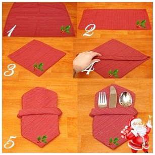 doblado de servilletas de papel para navidad