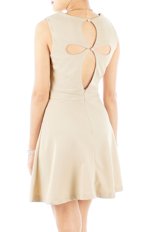 Ivory Club Motif Skater Dress with Cut-out Back