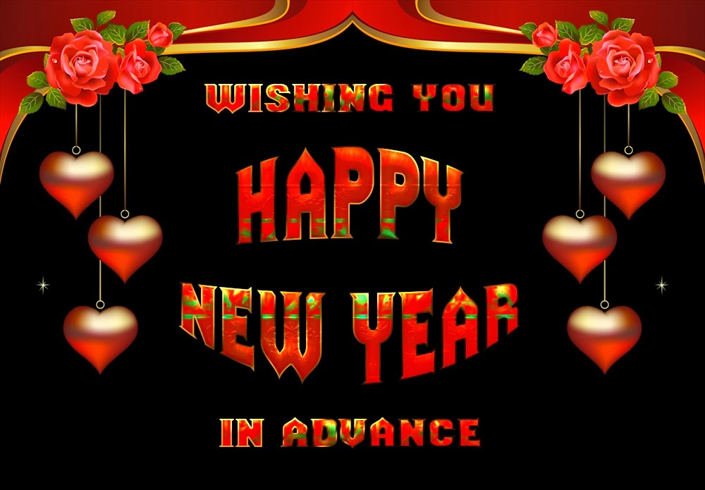 Happy New Year 2015 Advance Wishes Heart Shape Cards