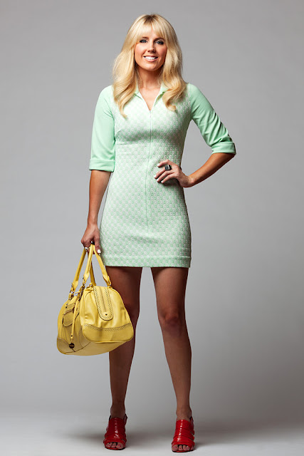 Dale+Steliga+70%2527s+dress+ +orange+heels +yellow+Big+Buddha+handbag