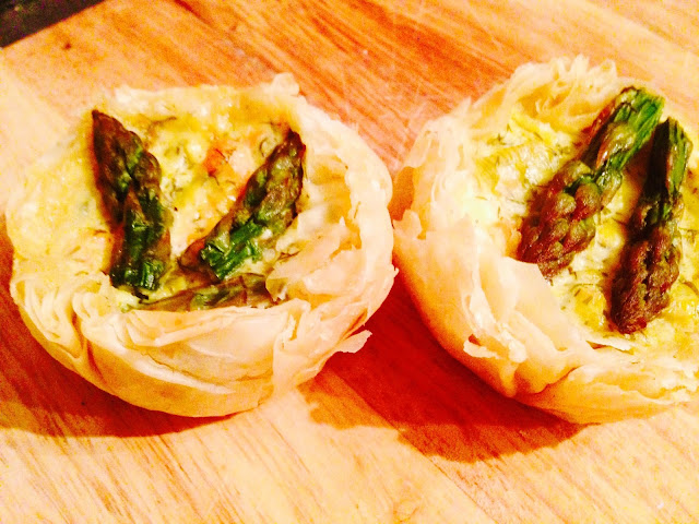 Double salmon, feta and asparagus fillo tartlets
