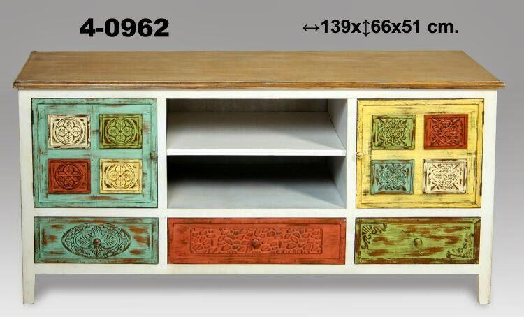 mesa television policromada, mesa TV colores