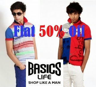 Basicslife Offer: Get Flat 50% Discount on Men's T-Shirts & Polo (Offer Valid for Delhi / NCR Customers Only)
